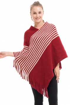 Womens V-Neck Oversized Stripe Fringe Pullover Sweater Poncho Red