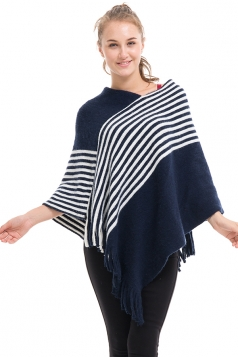 Womens V-Neck Oversized Stripe Fringe Pullover Sweater Poncho Navy Blue