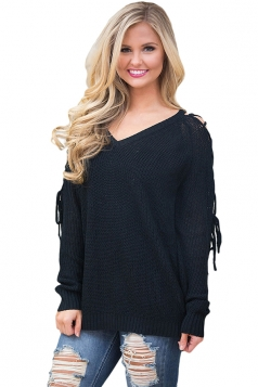 Womens V-Neck Lace Up Shoulder Cut Out Plain Pullover Sweater Black