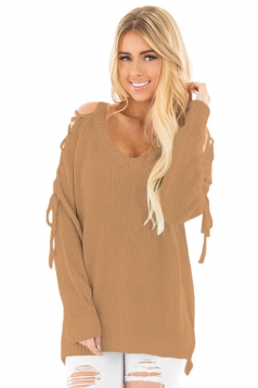 Womens V-Neck Lace Up Shoulder Cut Out Plain Pullover Sweater Khaki