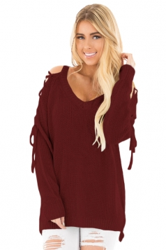Womens V-Neck Lace Up Shoulder Cut Out Plain Pullover Sweater Ruby
