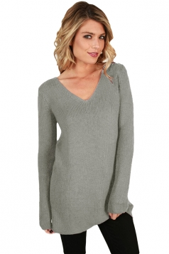 Womens Sexy V-Neck Back Lace Up Knit Plain Pullover Sweater Gray