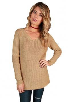 Womens Sexy V-Neck Back Lace Up Knit Plain Pullover Sweater Khaki