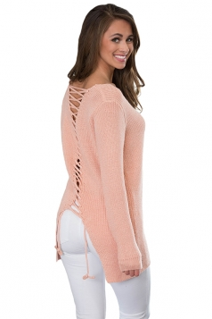Womens Sexy V-Neck Back Lace Up Knit Plain Pullover Sweater Pink