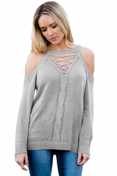 Womens Sexy Cold Shoulder Lace Up Knit Plain Pullover Sweater Gray