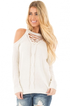 Womens Sexy Cold Shoulder Lace Up Knit Plain Pullover Sweater White