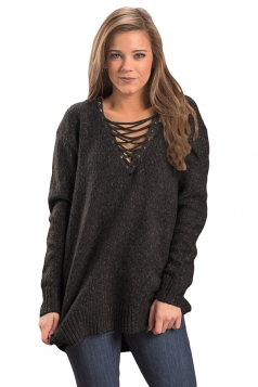 Womens Lace Up Neckline Long Sleeve Knit Plain Pullover Sweater Black