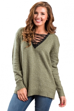 Womens Lace Up Neckline Long Sleeve Knit Plain Pullover Sweater Green