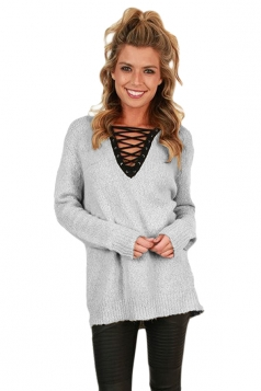 Womens Lace Up Neckline Long Sleeve Knit Plain Pullover Sweater Gray