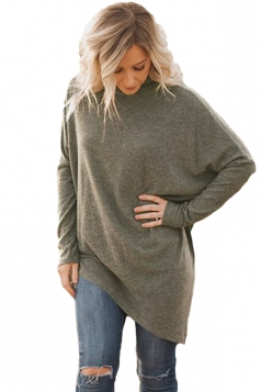 Womens High Collar Batwing Sleeve Poncho Pullover Sweater Army Green