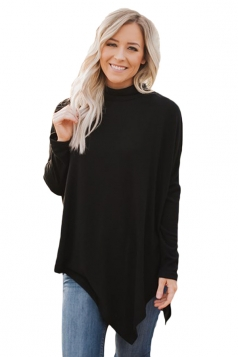 Womens High Collar Batwing Sleeve Poncho Plain Pullover Sweater Black