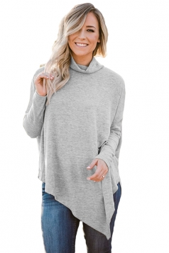 Womens High Collar Batwing Sleeve Poncho Plain Pullover Sweater Gray