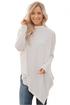 Womens High Collar Batwing Sleeve Poncho Plain Pullover Sweater White