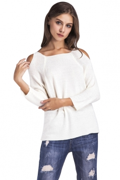 Womens Casual Cold Shoulder Long Sleeve Plain Pullover Sweater White