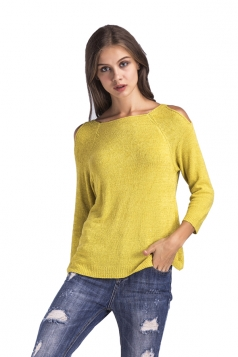 Womens Casual Cold Shoulder Long Sleeve Plain Pullover Sweater Yellow