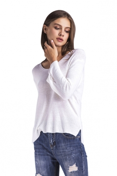 Womens Cut Out Side Split Loose Sleeve Plain Pullover Sweater White