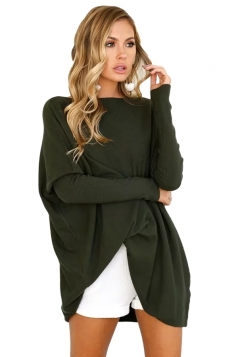 Womens Batwing Sleeve Oversized Plain Pullover Sweater Army Green