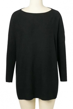 Womens Batwing Sleeve Oversized Plain Pullover Sweater Black