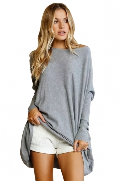 Womens Batwing Sleeve Oversized Plain Pullover Sweater Gray
