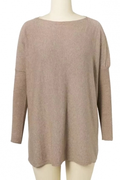 Womens Batwing Sleeve Oversized Plain Pullover Sweater Khaki