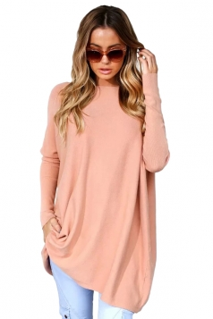 Womens Batwing Sleeve Oversized Plain Pullover Sweater Pink