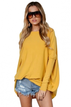 Womens Batwing Sleeve Oversized Plain Pullover Sweater Yellow
