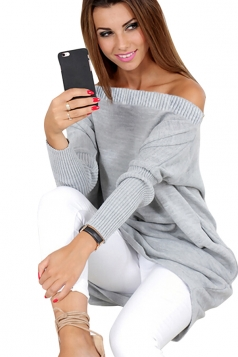 Womens Sexy One Shoulder Puff Sleeve Plain Pullover Sweater Gray