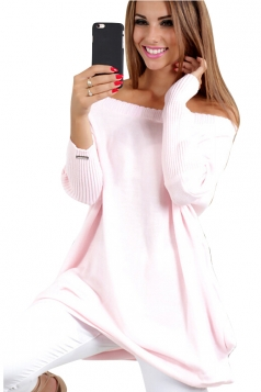 Womens Sexy One Shoulder Puff Sleeve Plain Pullover Sweater Pink