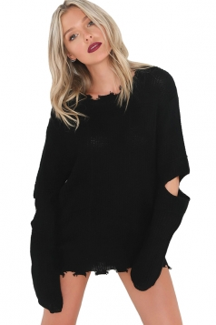 Womens Sexy Split Sleeve Cut Out Plain Pullover Sweater Black