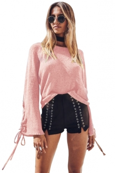 Womens Lace Up Crew Neck Loose Sleeve Plain Pullover Sweater Pink