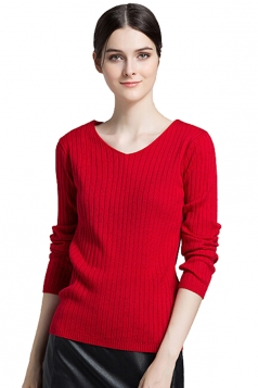 Womens Close-Fitting V-Neck Long Sleeve Plain Pullover Sweater Red