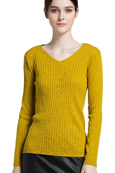 Womens Close-Fitting V-Neck Long Sleeve Plain Pullover Sweater Yellow