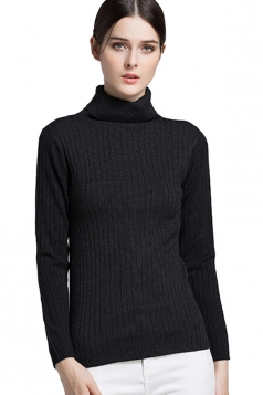 Womens High Collar Long Sleeve Plain Pullover Sweater Black
