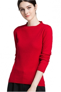 Womens High Collar Long Sleeve Plain Pullover Sweater Red