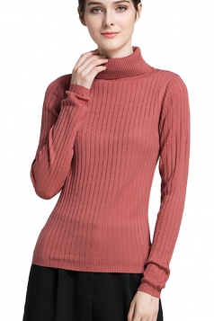 Womens High Collar Long Sleeve Plain Pullover Sweater Watermelon Red