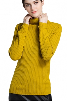 Womens High Collar Long Sleeve Plain Pullover Sweater Yellow