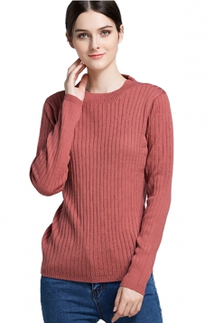 Womens Crew Neck Long Sleeve Plain Pullover Sweater Watermelon Red
