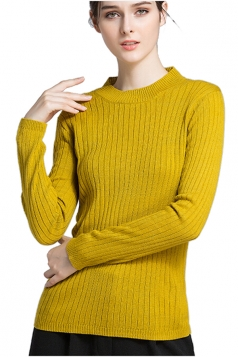 Womens Crew Neck Long Sleeve Plain Pullover Sweater Yellow