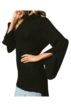 Womens Cowl Neck Split Bell Sleeve Lacing Plain Pullover Sweater Black