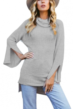 Womens Cowl Neck Split Bell Sleeve Lacing Plain Pullover Sweater Gray