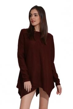 Womens Long Sleeve Asymmetrical Hem Plain Pullover Sweater Coffee