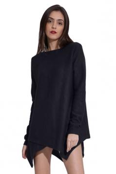 Womens Long Sleeve Asymmetrical Hem Plain Pullover Sweater Navy Blue