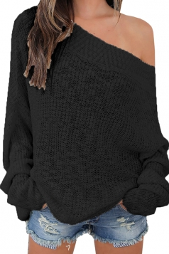 Womens Sexy Off Shoulder Long Sleeve Oversized Pullover Sweater Black