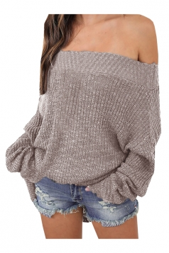 Womens Sexy Off Shoulder Long Sleeve Oversized Pullover Sweater Khaki