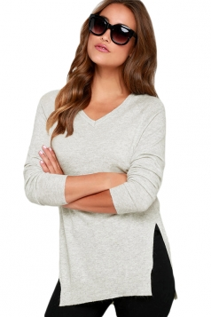 Womens V-Neck Long Sleeve Side Slit Plain Pullover Sweater White