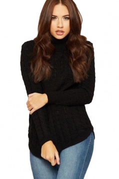 Womens High Collar Long Sleeve Knit Sweater Black