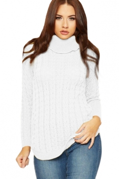 Womens High Collar Long Sleeve Knit Sweater White