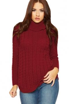 Womens High Collar Long Sleeve Knit Sweater Ruby