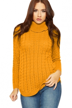 Womens High Collar Long Sleeve Knit Sweater Yellow