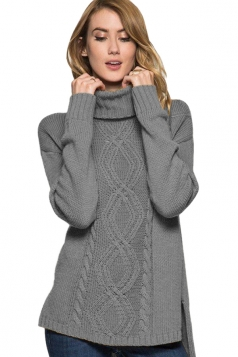 Womens High Collar Long Sleeve Side Slits Plain Knit Sweater Gray